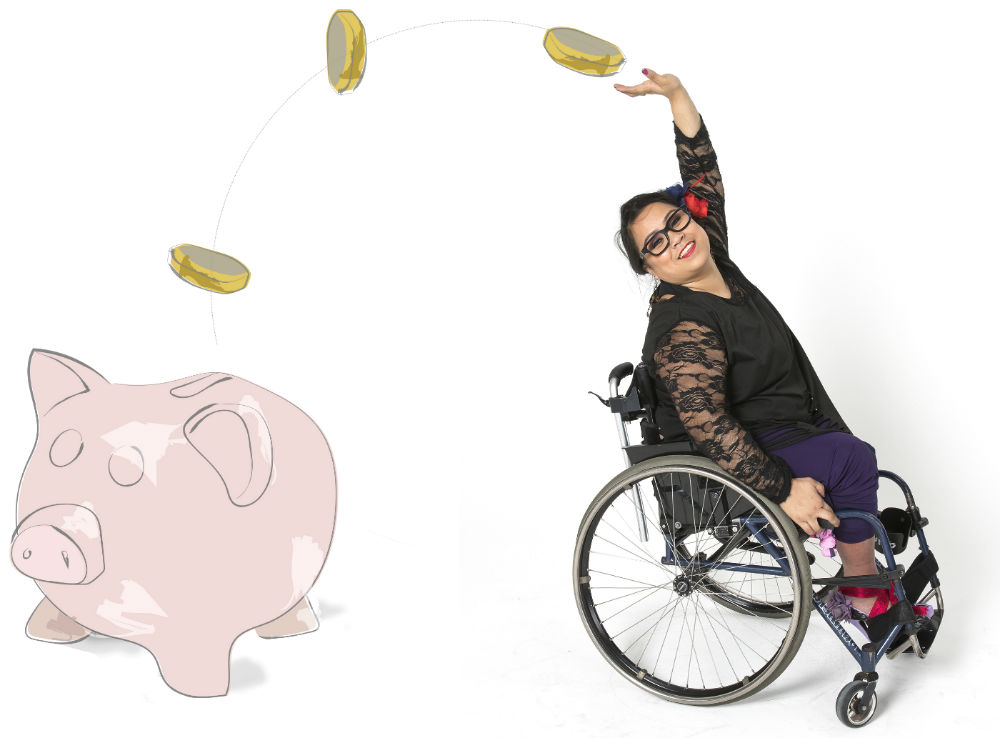 Woman in wheelchair throwing coins into a piggy bank